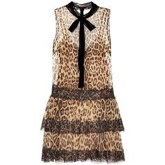 REDValentino Printed Mini Dress ($1,465) ❤ liked on Polyvore featuring dresses, multicoloured, multi print dress, brown dress, short brown dress, colorful dresses and short colorful dresses