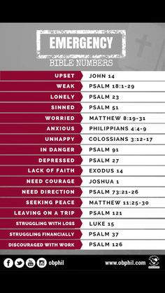 Bible verses for different situations.