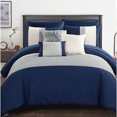 Chic Home Osnat 8 Piece Twin Comforter Set Color: Plum Room In A Bag, Bed In A Bag, Ruffle Bedding, Quilt Bedding, Blue Comforter Sets, Bedding Sets, King Size Comforters, Quilt Sets, Bedding Collections