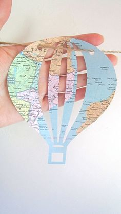Map Baby Shower Hot Air Balloon Map Theme Baby by MagpieandMax