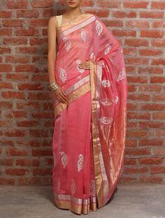 Paisley Pink Chanderi Silk Saree