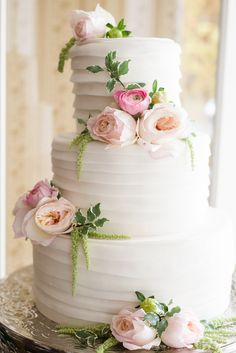Preppy Pink Wedding Cake with Flowers