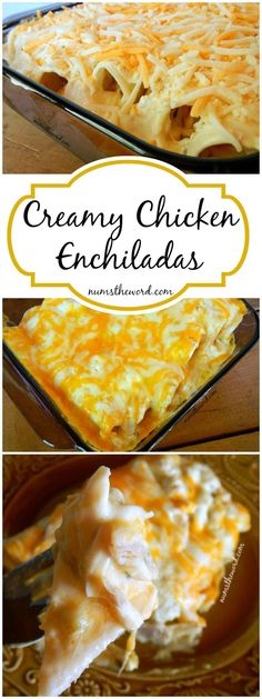 VIDEO These simple non-traditional creamy chicken enchiladas. VIDEO These simple non-traditional creamy chicken enchiladas are a huge hit with our family. 6 ingredients and 30 minutes is all you need for an awesome meal!