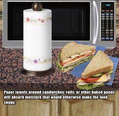 paper towel around sandwiches