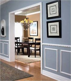 This is like the exact idea I have in my head! Gray/blue with the white molding! Except I would want a more plan molding. Panel Moulding, Grand Entrance, My Room, Picture Frames, Family Room, Master Bedroom, Gallery Wall, New Homes, Interior Design