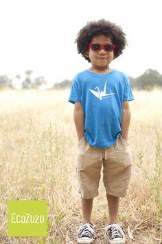PAPER BIRD Organic kid tee bright blue unisex  4t 3t 2t by ecozuzu, $36.00