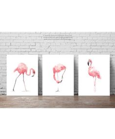 Pink Flamingo Set of 3 Art Prints. Flamingoes Whimsical Tropical Artwork Baby Nursery Gift Idea. Pink Bird Wall Decor. Flamingos Room Wall Art Abstract Watercolor Painting. A price is for the set of three different Flamingo Art Prints as shown on photos. Type of paper: Prints up to (42x29,7cm) 11x16 inch size are printed on Archival Acid Free 270g/m2 White Watercolor Fine Art Paper and retains the look of original painting. Larger prints are printed on 200g/m2 White Semi-Glossy Poster…