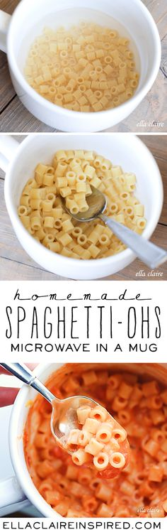 Flavorful and creamy without the processed chemicals from the canned version! Homemade Microwave Spaghetti-ohs in a Mug | Single-Serve
