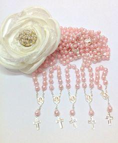 25 pcs Pearl First communion favors Recuerditos Bautizo 25pz/ Mini Pearl Rosary Baptism Favors 25 pcs