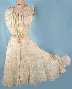 c. 1900 Ecru Silk and Lace Fancy Camibloomers -- I am a sucker for Edwardian lingerie.