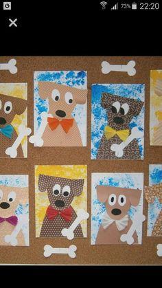 Dog Art - could make into a Christmas project by ... - Art Christmas Dog dollarstore Project Vyrábění Pro Děti, Umění A Řemesla, Drawing Lessons, Lekce Umění, Umění Pro Děti, Umění Ze Základní Školy, Předškolní Pomůcky