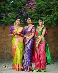 Latest Kanjeevaram Bridal sarees with contrast blouse combinations which gives an insight into trendy bridal wear Bridal Sarees South Indian, Bridal Silk Saree, Indian Silk Sarees, Indian Bridal Fashion, South Indian Bride, Indian Beauty Saree, Saree Wedding, Ethnic Sarees, Wedding Saree Collection