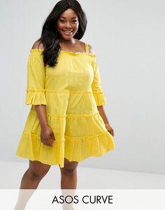 ASOS Curve   ASOS CURVE Lace Insert Tiered Cold Shoulder Sun Dress