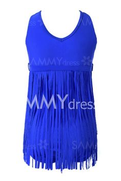 Scoop Neck Sleeveless Solid Color Tassels Sexy One-Piece Swimsuit For Women