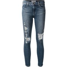 Frame Denim Distressed Skinny Jeans (340 AUD) ❤ liked on Polyvore featuring jeans, pants, bottoms, pantalones, blue, ripped jeans, distressed skinny jeans, distressed jeans, torn skinny jeans and distressing jeans