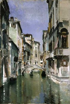 Canal In Venice, San Trovaso Quarter.Robert Frederick Blum (1857 – 1903)