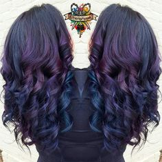 Dreaming of purple and blue bouncy curls #arcticfoxhaircolor #manicpanic #brazilianbondbuilder #b3 # #behindthechair #modernsalon #beautylaunchpad #hotonbeauty #americansalon