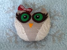 OOAK Owl plush mini pillow, handmade stuffed toy, by craftoholicsoul on Etsy