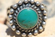 Vintage Navajo Hand Wrought Sterling Silver Turquoise Satellite Ring | eBay