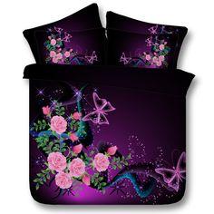 a60fc4305f 3D Roxo Floral conjunto de Cama Flor Rosa colcha capa de edredão Cal Rei  Rainha tamanho