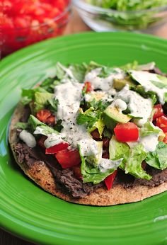 vegetarian: black bean tostadas with cilantro sauce...