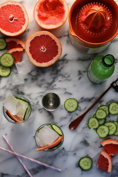 Grapefruit and cucumber cocktails