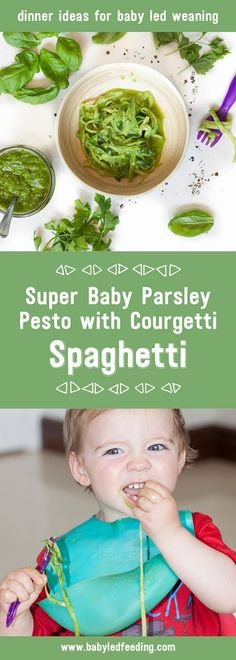 This Super Baby Parsley Pesto with Courgetti Spaghetti is chock-full of essential vitamins and minerals. Making it a perfect dish for blw.