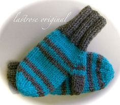 Child's Mittens Hand Knit Turquoise and Gray Heather by lastrose, $6.00