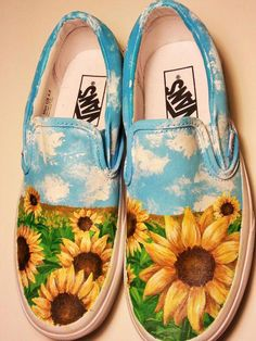 For the avid sunflower enthusiast You can order this exact design, or create your own classic twist with a flower of you Custom Vans Shoes, Custom Painted Shoes, Painted Canvas Shoes, Painted Sneakers, Hand Painted Shoes, Painted Vans, Canvas Sneakers, Disney Painted Shoes, Vans X