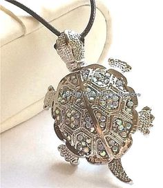 Silver Crystal Sea Life Turtle Necklace Plated Pin Brooch Aurora Island  Beach