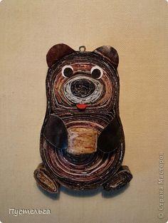 """Медвежонка делаем также, как всех других зверят (смотри поделку """"Совёнок""""). Только есть небольшое дополнение... фото 1"""