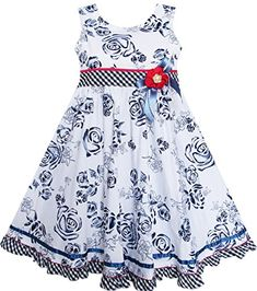 FQ22 Sunny Fashion Girls Dress Black Flower Plaid Waist Hem Sleeveless Size 5 * Want to know more, click on the image.