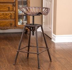 Tractor Seat Bar Stools Unique Saddle Rustic Swivel Adjustable Home Decor Iron  #CKHome #Rustic