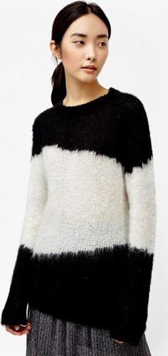 f408a415ba3a5 Brushed Punk Mohair Jumper BLACK WHITE. Curl up to the Brushed Punk Mohair  Jumper