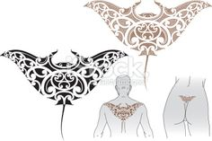 Maori Manta tattoo design Royalty Free Stock Vector Art Illustration