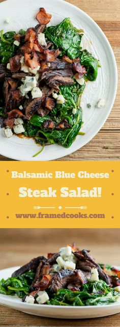 This recipe for balsamic blue cheese steak salad is full of the rich flavors of beef, cheese, bacon and spinach, finished with a splash of balsamic vinegar!