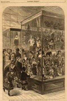 Shopping for dollies in 1877, from Harper's Bazaar magazine