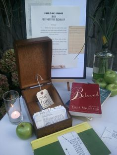 escort card idea w/ literary theme -- guests find their seat on a library index card. possibly write a note for them?