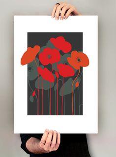 Midcenury Floral Print, Red Poppies, retro Eames era, mid-century modern, Poppies, Pop art style, giclee art print