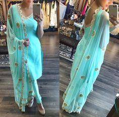 Stylish heavy salwar suit Pure satin silk crepe (soft) unstitch top meter w. Indian Suits, Indian Attire, Punjabi Suits, Indian Wear, Indian Style, Punjabi Fashion, Bollywood Fashion, Asian Fashion, Uk Fashion