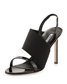 X2GWZ Manolo Blahnik Petto Patent Crossover Sandal, Black