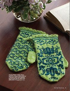 Heatherly used an eighteenth-century embroidery pattern as inspiration for a stunning colorwork mitten design.
