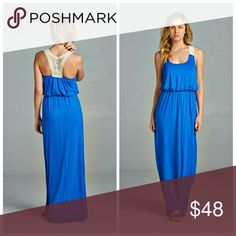 Royal Blue Maxi Dress Dress to impress in this royal blue, sleeveless maxi dress! A crochet back detail perfect for spring and summer.   Fabric: 96% Modal                 4% Spandex   Made in USA Dresses Maxi