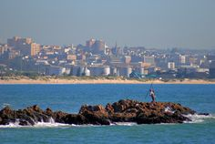 A view of Port Elizabeth, South Africa facing north from Polock beach. Port Elizabeth, Small Town Girl, Saltwater Fishing, Small Towns, Seattle Skyline, San Francisco Skyline, South Africa, Beautiful Places, Country
