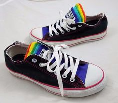 ad8ce5beafd7 Converse CT Multi Tongue OX Black Multi-Color Rainbow Lo Tops 547219C  Womens 8