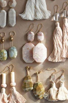 Marble, feldspar and quartz earrings