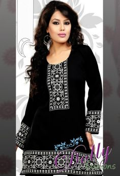 Black Printed Crepe Kurti/ Indian Tunic Top