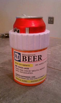 A beer koozie keeps your beer cold while the outside looks like a prescription bottle. Cheers, Prescription Bottles, Pill Bottles, Medicine Bottles, College Memes, Beer Humor, Coffee Humor, Coffee Mugs, Funny Signs