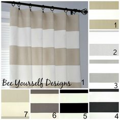 """Pair of Curtain Panels, Cabana Stripe Premier Prints - Horizontal Stripes - 25"""" or 50"""" wide - You choose color and length"""
