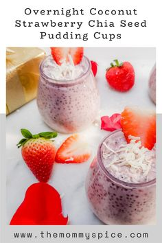 Perfect for adults and kids alike! #chiaseedpudding What Is Healthy Food, Healthy Meals To Cook, Healthy Eating Recipes, Healthy Treats, Strawberry Chia Seed Pudding, Coconut Chia Pudding, Pudding Cups, Meal Prep For The Week, Frozen Strawberries